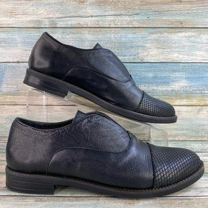 Bueno Patty Black Leather Slip On Loafers